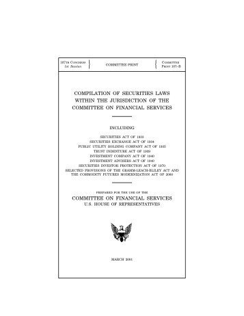 compilation of securities laws within the jurisdiction of the committee
