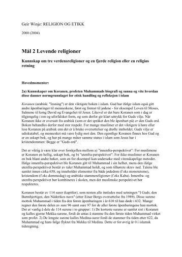 Mål 2 Levende religioner