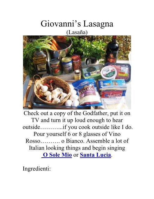 Giovanni's lasagna - The Geriatric Gourmet