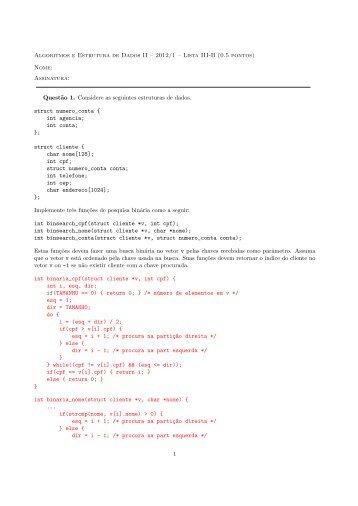 Algoritmos e Estrutura de Dados II – 2012/1 – Lista III-B (0.5 ... - UFMG