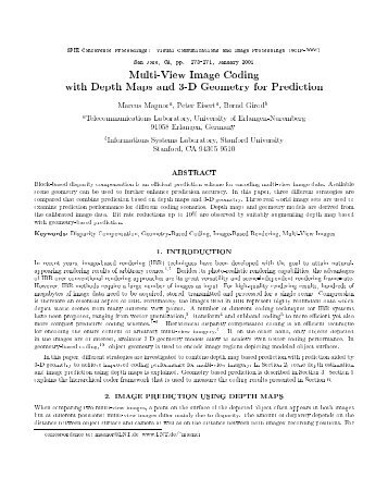 Multi-View Image Coding with Depth Maps and 3-D Geometry for ...