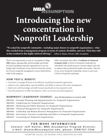 NPL Promo Sheet - graduate studies at assumption college