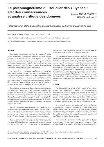 géologie n° 2-3 2003.qxd - Géologie de la France - BRGM