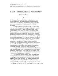 BARTH - A TRULY BIBLICAL THEOLOGIAN? - Tyndale House
