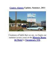 Cuatro Alamos Update, Summer, 2011 - The Geriatric Gourmet