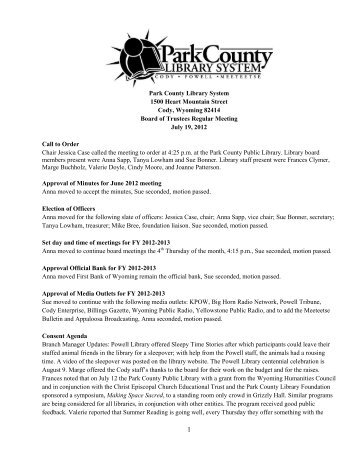 July 2012 Board Meeting Minutes - Park County Library System
