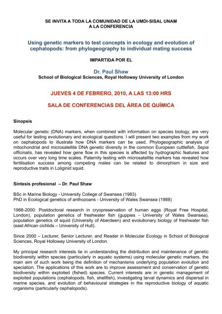 Invitación conferencia Dr Paul Shaw - Intranet - UMDI - UNAM