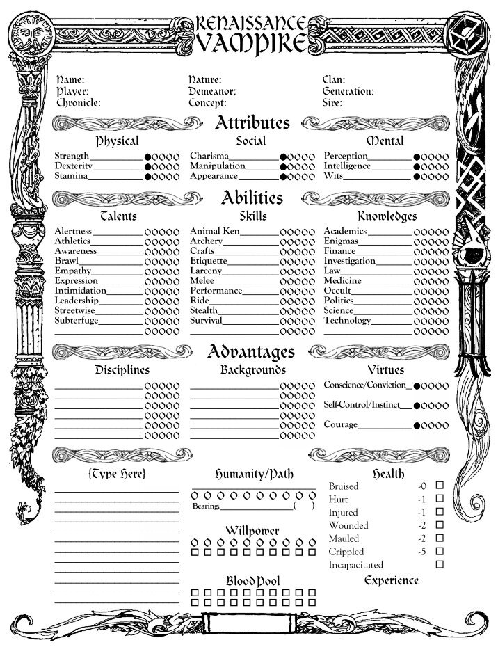 Images of Vampire The Masquerade Character Sheet - #rock-cafe