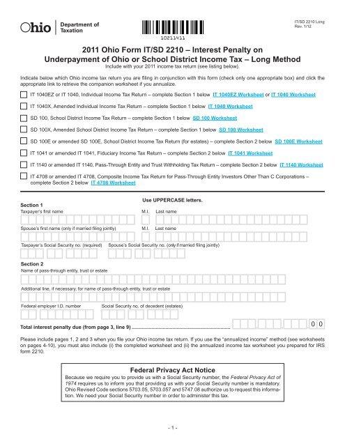 2011 Ohio Form IT SD 2210 Ohio Department Of Taxation
