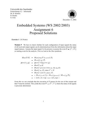 Embedded Systems (WS 2002/2003) - Universität des Saarlandes