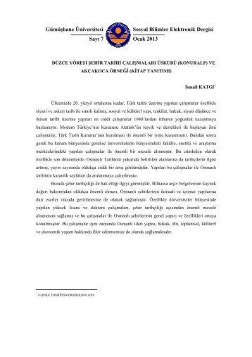 (Konuralp) ve Akçakoca Örneği (Kitap Tanıtımı) - GÜ SBE Elektronik ...