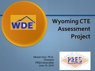 CTE Assessment Presentation - Wyoming Department of Education
