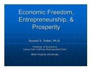 Economic Freedom, Entrepreneurship, & Prosperity