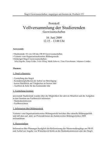 Protokoll VV 2009 - StugA Geowissenschaften der Universität Bremen