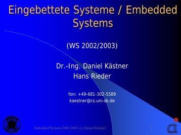 Eingebettete Systeme / Embedded Systems
