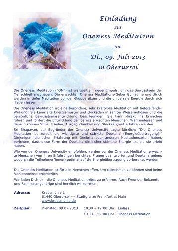 Einladung Oneness Meditation - Oneness 24