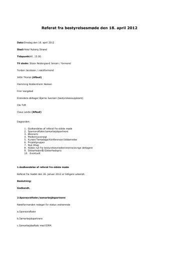 Referat fra bestyrelsesmøde den 18. april 2012 - Danske ...