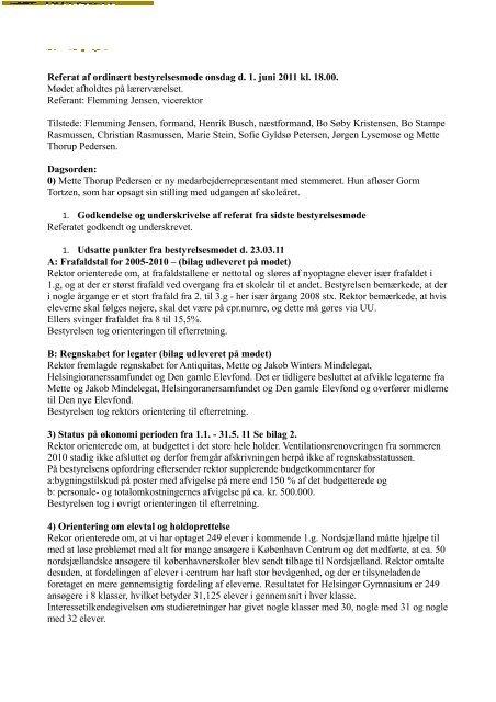 Bestyrelsesmøde d. 1/6 2011 - Helsingør Gymnasium