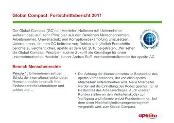 Global Compact: Fortschrittsbericht 2011 - Apetito