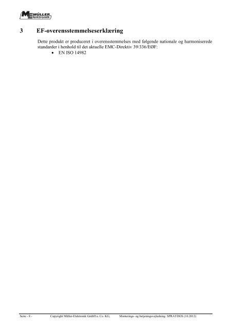 Monterings- og betjeningsvejledning - Müller Elektronik