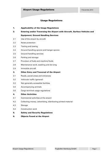 Airport Rules and Regulations (PDF, 155 KB) - Hamburg