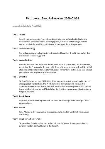 Protokoll StugA 2009-01-08_3 - StugA Geowissenschaften der ...