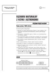 EGZAMIN MATURALNY Z FIZYKI I ASTRONOMII