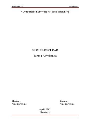 Advokatura - Seminarski Maturski Diplomski Radovi