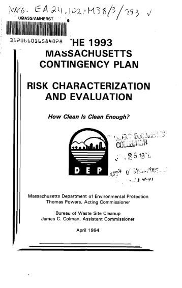 massachusetts contingency plan risk characterization and evaluation