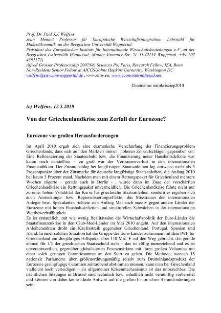 Von der Griechenlandkrise zum Zerfall der Eurozone? - EIIW