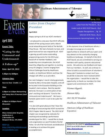 Spring HCAT Newsletter 2013 - Healthcare Executives of Tidewater ...
