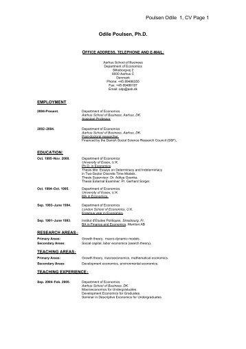 Poulsen Odile 1, CV Page 1 Odile Poulsen, Ph.D.