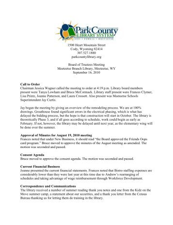 September 2010 Board Meeting Minutes - Park County Library System