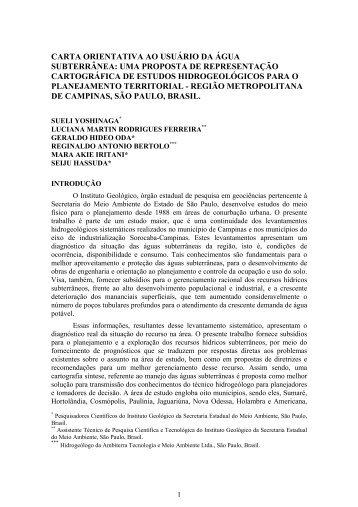 CARTA ORIENTATIVA AO USUÁRIO DA ÁGUA SUBTERRÂNEA ...