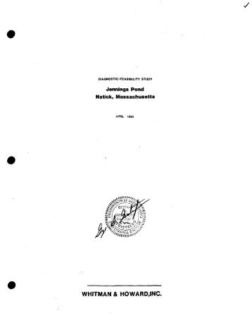diagnostic_feasibility study jennings pond natick, massachusetts