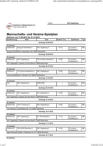 Spielplan D2-Jugend hier klicken... - SSV-Mannheim-Vogelstang eV
