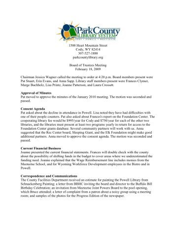 Personnel Issues - Park County Library System