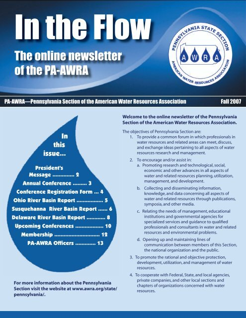 The online newsletter of the PA-AWRA - American Water Resources ...