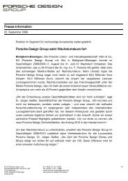 Presse-Information Porsche Design Group setzt Wachstumskurs fort