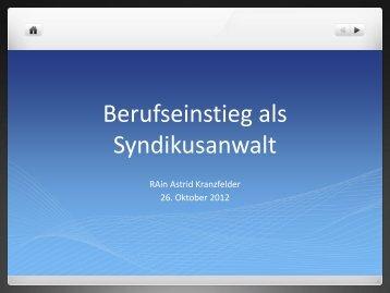Berufseinstieg als Syndikusanwalt - Deutscher Anwaltverein