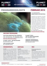 ProGrammHiGHliGHts Februar 2012 - Planet