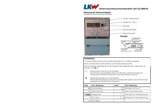 Bedienungsanleitung Haushaltszähler L&G Typ ZMB120 Ablesung ...