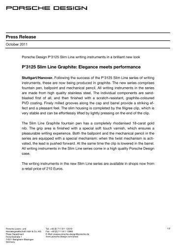 Press Release P'3125 Slim Line Graphite ... - Porsche Design