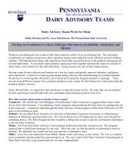 Dairy Advisory Teams Work for Them - Penn State University