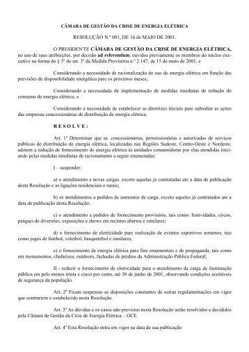 Resolução nº 001, de 16 de Maio de 2001