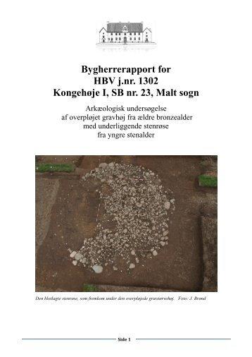 Bygherrerapport for HBV j.nr. 1302 Kongehøje I, SB nr. 23, Malt sogn