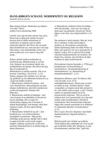 HANS-JØRGEN SCHANZ: MODERNITET OG RELIGION - Emu