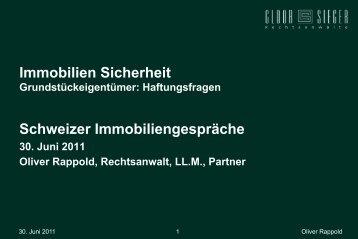 Immobilien Sicherheit Schweizer Immobiliengespräche