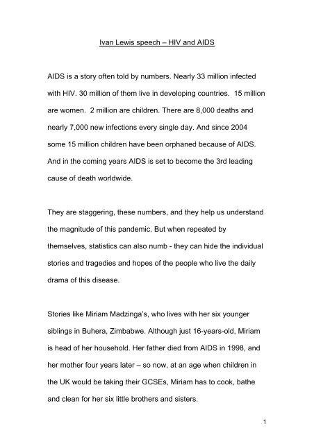 speech on aids