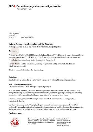 Referat fra møte 29. oktober - Det utdanningsvitenskapelige fakultet ...